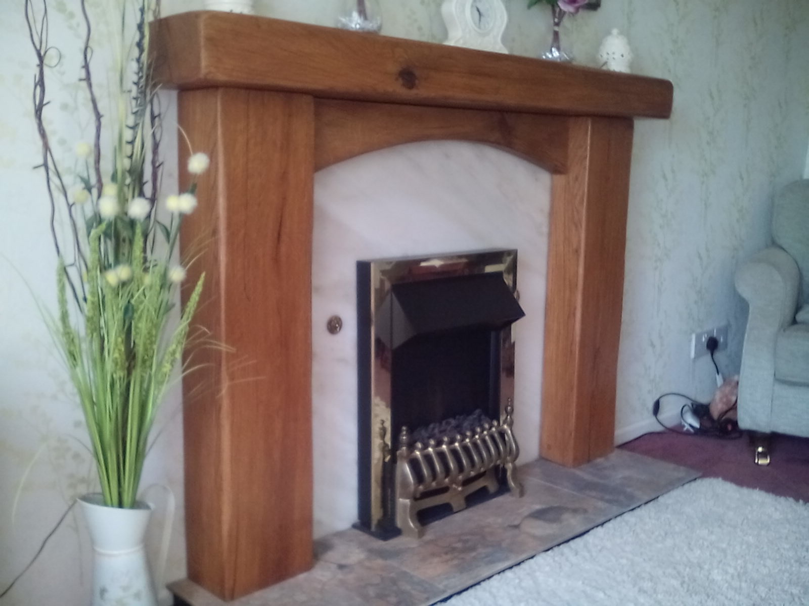 fireplace surround with cross board, danish oil, rustic, edges smoothed out1