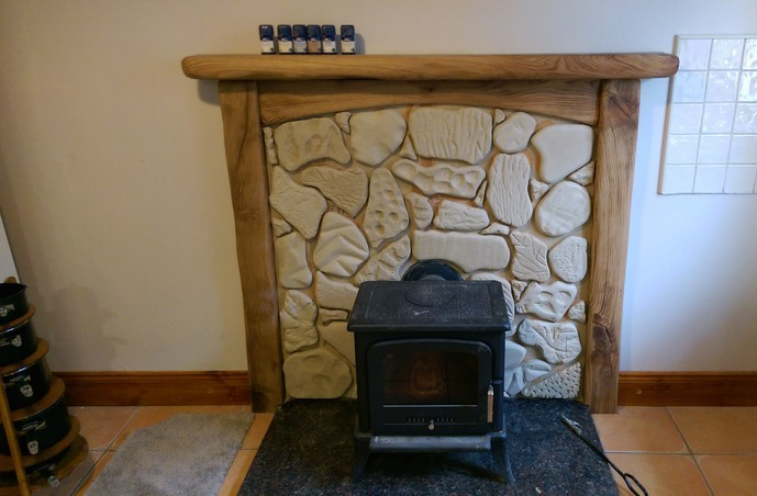 Rod, rustic fireplace, scalloped edges, Danish oil