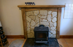 Rod, rustic fireplace, scalloped edges, Danish oil