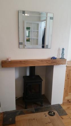 Rustic oak fireplace mantel piece