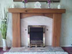 fireplace surround with cross board, danish oil, rustic, edges smoothed out2