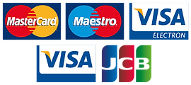 Imgage shows the payment cards we accept online, Visa, Martercard, JCB