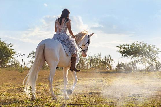 mulher de vestido a cavalo
