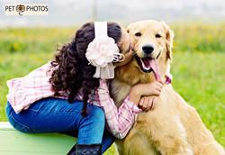 Criança beijando cachorro golden