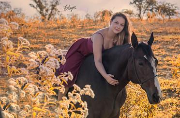 menina e cavalo em campo florido