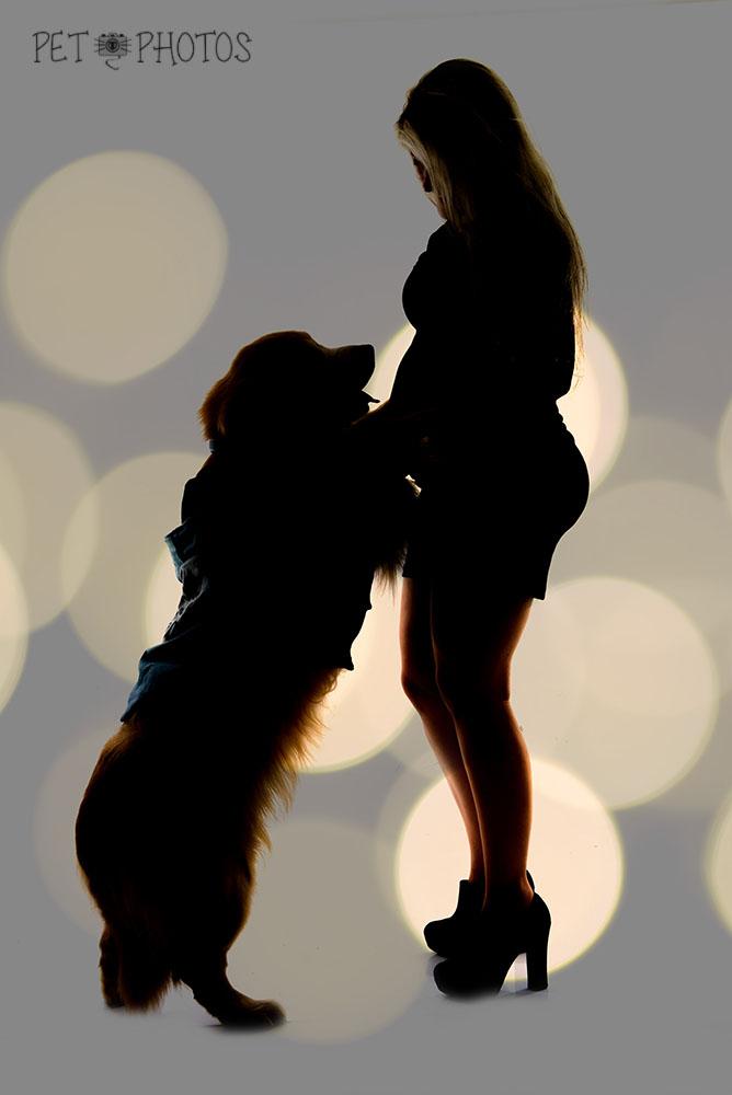 silueta gestante e cachorro