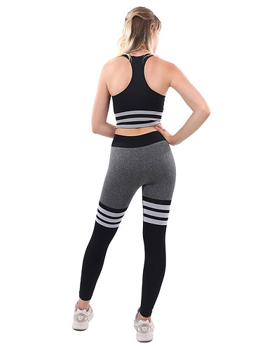 Cassidy Legging & Sports Bra Set - Black & White