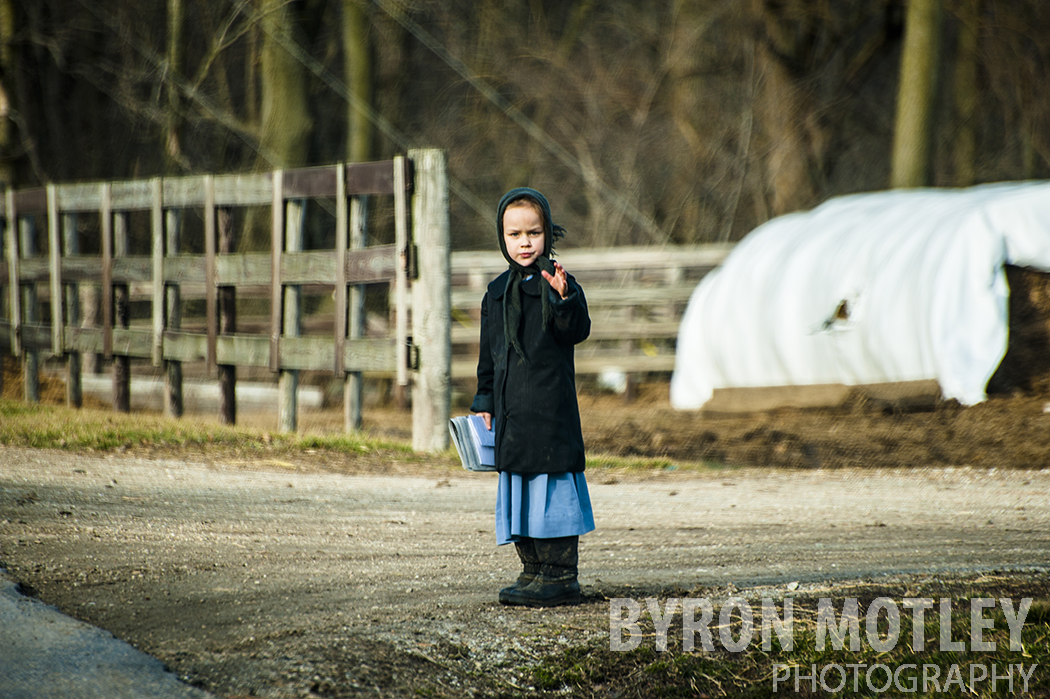 Amish Girl Waving - Kentucky