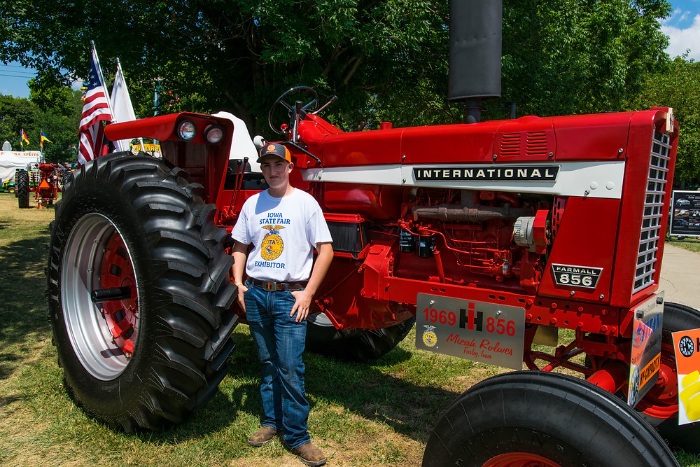 Micah with His Complete Restoration at the Iowa State Fair