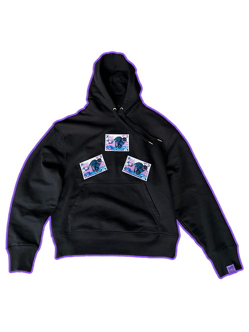 POSTAGE STAMP HOODIE (VIOLET PATCHES)