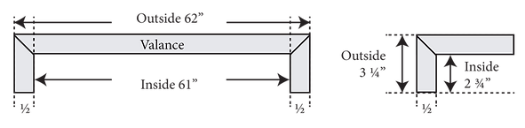 Schematic depicting how to properly measure for valance fitting.