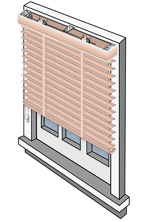 Window schematic of an outside mounted blind with an outside mounted valance.