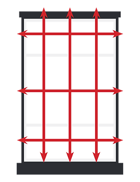 Depicting the measurements of an Outside Mount for blinds.
