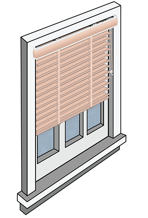 Window schematic with an inside mounted blind with an outside mounted valance.