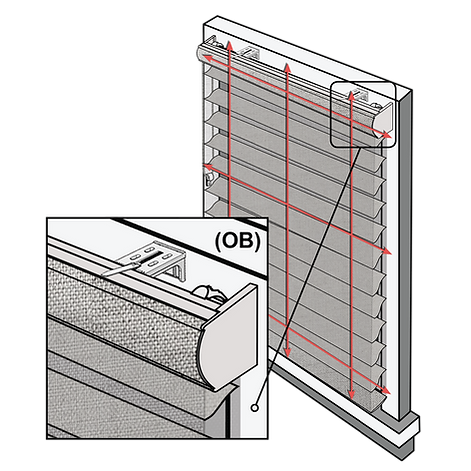 Schematic depicting the position for an outside mounted shade.