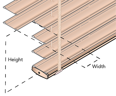 Schematic showing the measurement guide for cut-out blinds.