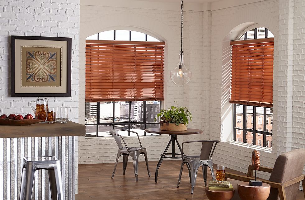 Apartment scene showcasing window blinds.