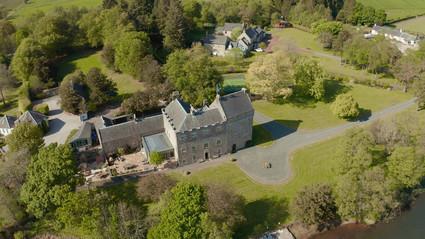 Aerial, Drone shot of Bardowie Castle