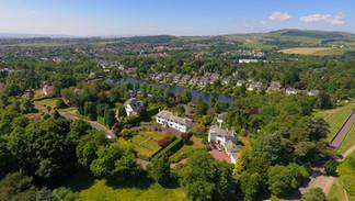 Aerial shot of Scottish village.