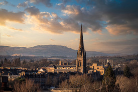 Aerial photography, River Tay Perth and St Matthews.