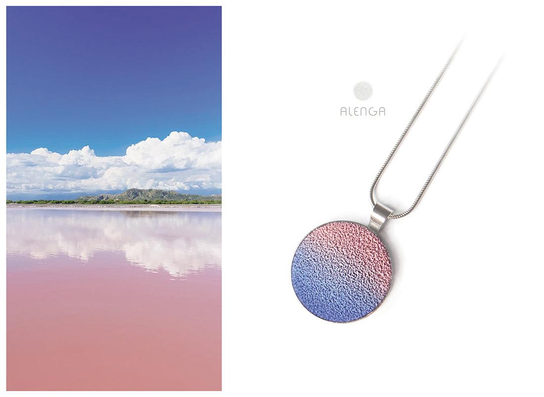 ALENGA nyaklánc_antik rózsaszín-kék_20mm