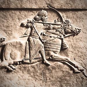 Der assyrische König Ashurbanipal auf der Jagd, Ausschnitt eines Reliefs vom Königspalast in Niniveh