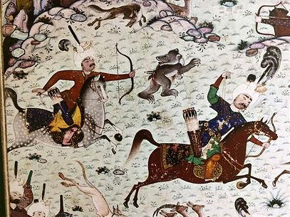 Osmanische Bogenreiter bei der Bärenjagd
