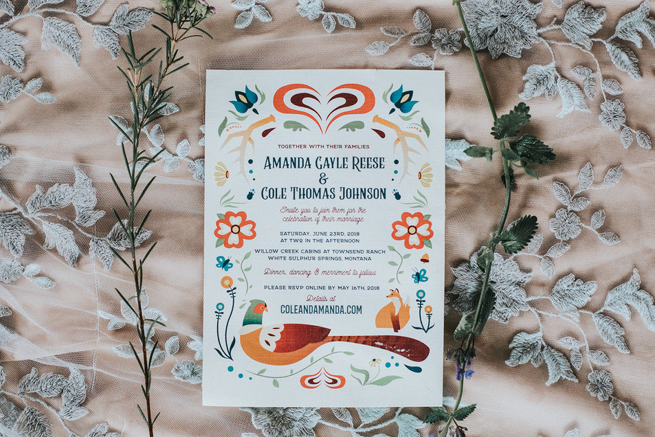 Folk Art Wedding Invitation Illustration