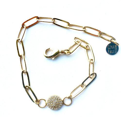 Paperclip Circle CZ Bracelet