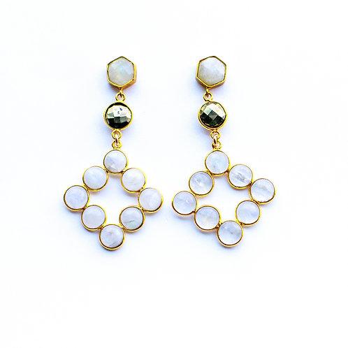 Chandelier Earrings in Moonstone