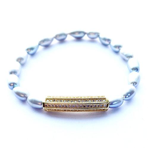 Grey Pearl Pave Tube Bracelet