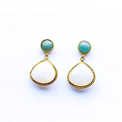 Halsted Drop Earrings in Moonstone and Chalcedony