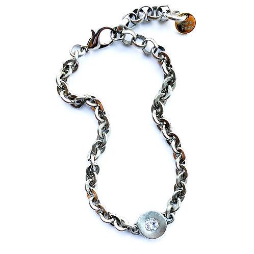 Antique Silver CZ Disc Bracelet