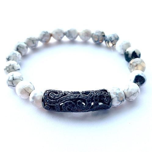 Ornate Pave Tube Bracelet