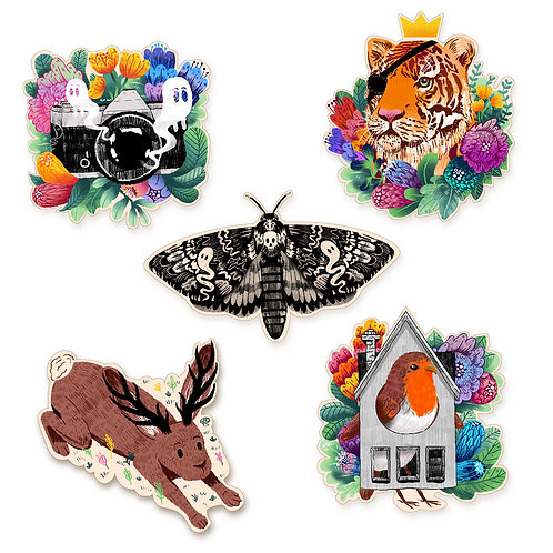 Eco-Friendly Illustrated Wooden Pins
