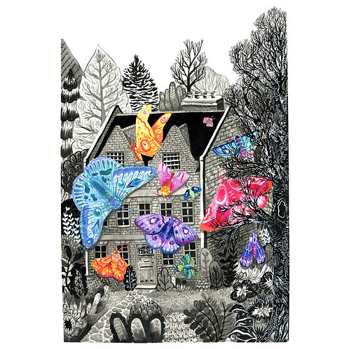 Moth Manor - A4 + A3 Art Prints