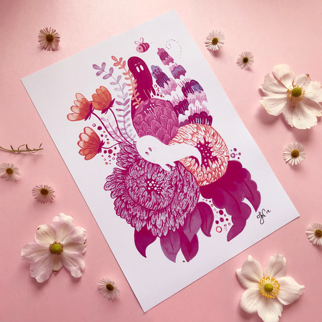 Business cards - ghost & flower prints