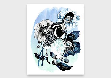 Quail & Flowers Print