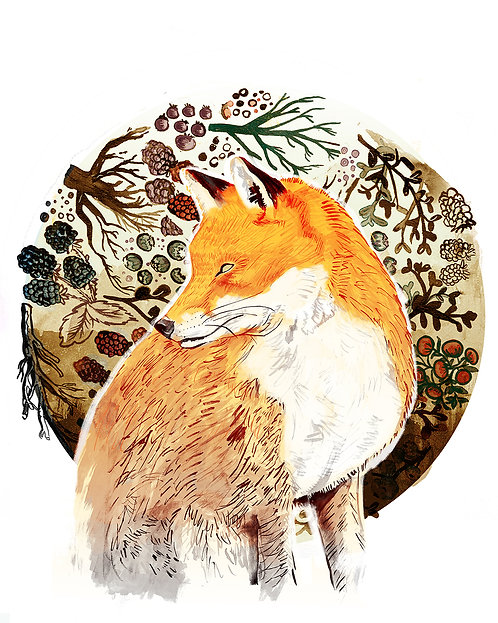 Fox & Berries - Print
