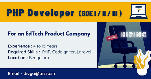 PHP Developer (SDE I/II/III)