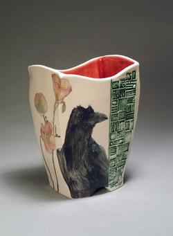 Jugendstil Vase with Crow