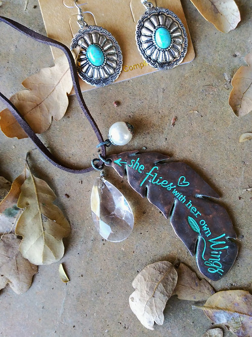 """Feather Inspiration Necklace 28""""-30"""""""