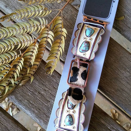 Western Turquoise & Cowhide Apple Watch Band