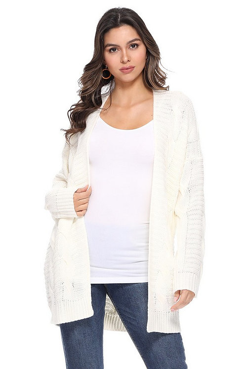 Cozy Cable Knit Open Cardigan