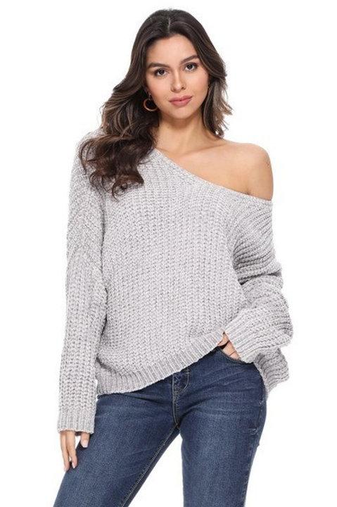 Chunky Knit V-Neck or Off-Shoulder Sweater