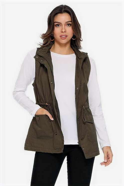 Sherpa Lined Cinch Waist Vest With Hood
