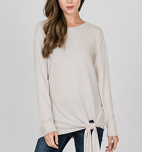 Long Sleeve Crew Neck Tee with Bow Hem