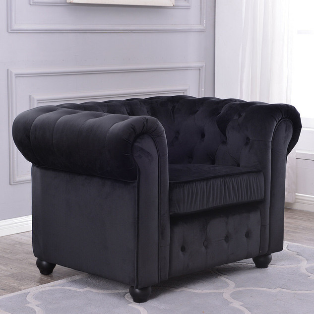 Black Velvet Rolled Arm Tufted Accent Ch