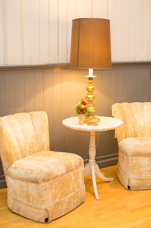 Clam Shell Chairs, Accent Table & Lamp