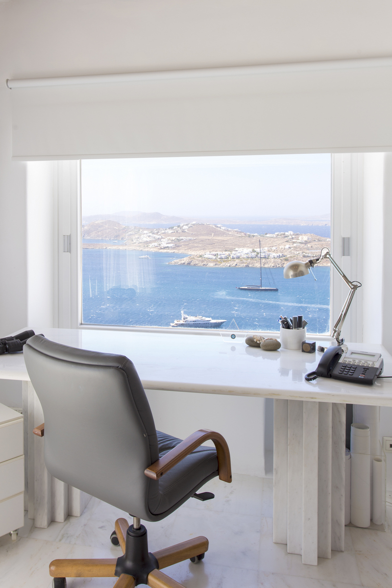 Mykonos villa master bedroom with private study and water view